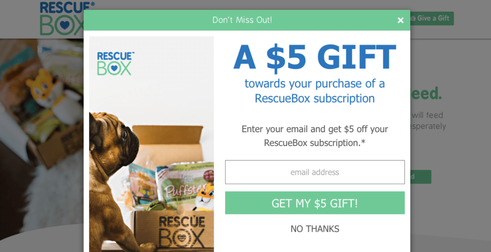Ecommerce Landing Page Example Rescue Box