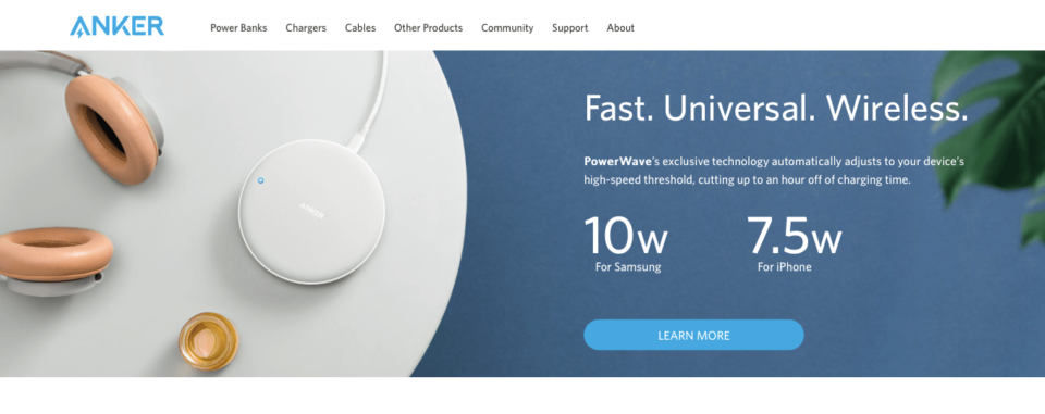 Ecommerce Landing Page Example Anker Powerwave