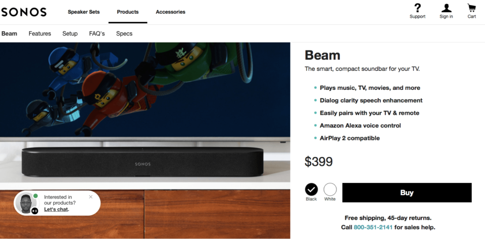 Ecommerce Landing Page Example Sonos Sound Bar