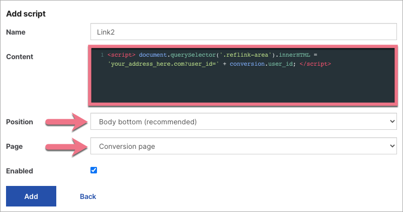 java on conversion page