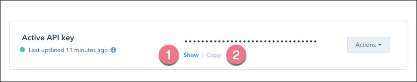 copy hubspot api key