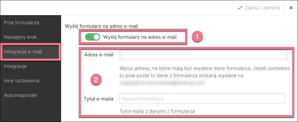 integracja email landingi