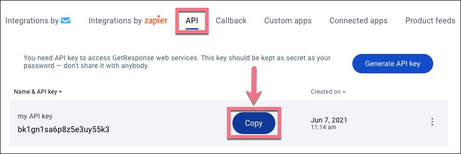 copy API from getresponse