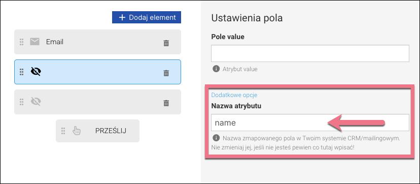 dodatkowe opcje pól formularza
