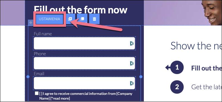 ustawienia formularza
