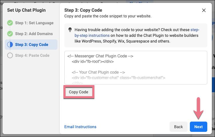 messenger chat code