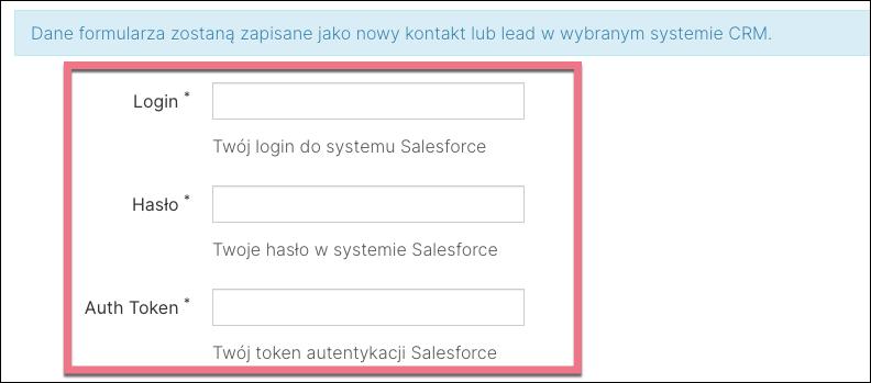 wklej token salesforce