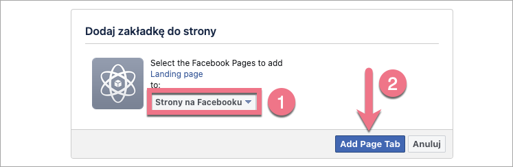 dodaj landing page do facebooka