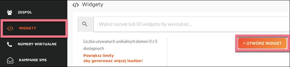 utwórz widget callpage