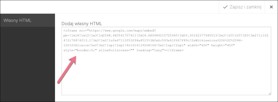 mapy google własny html