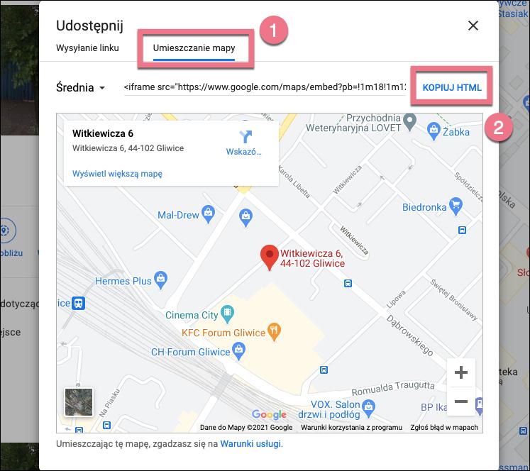 mapy google landingi