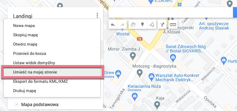 umieść na stronie mapy google