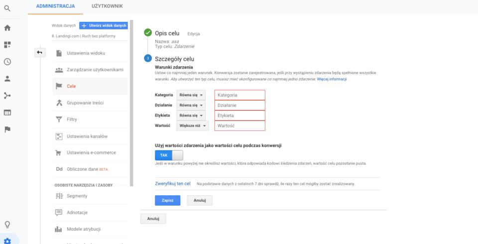 Google Analytics zdarzenie