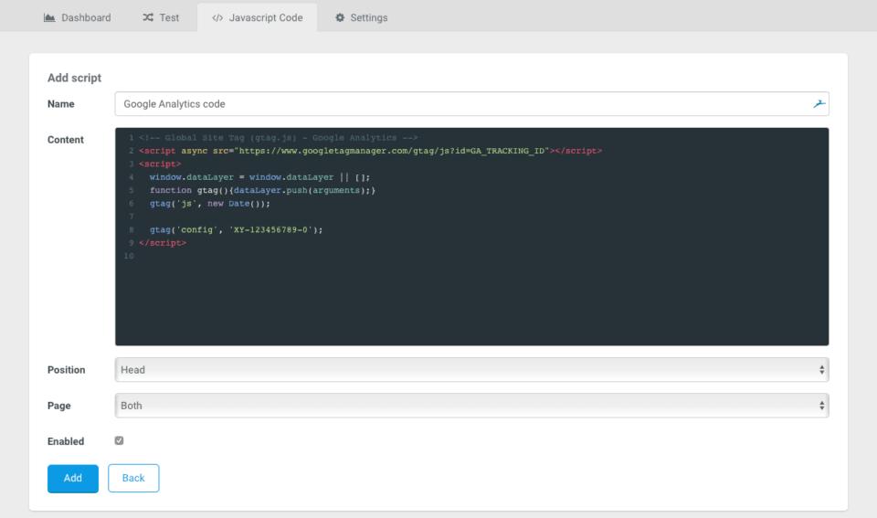 Javascript in Landingi