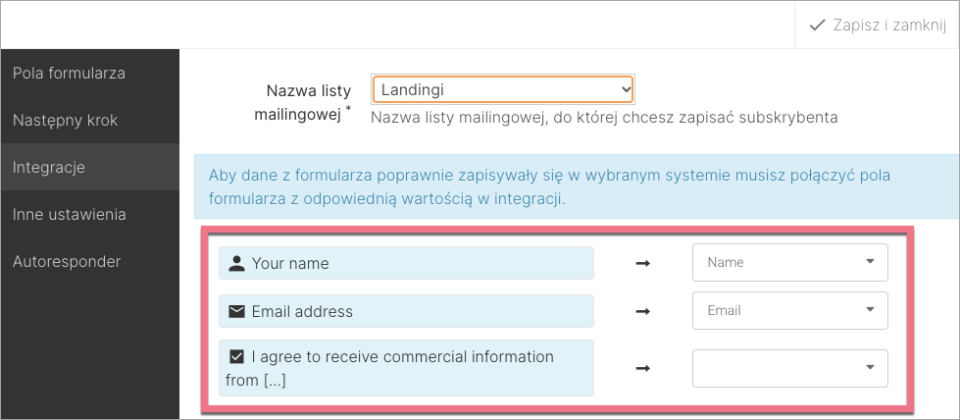 mailerlite połącz z formularzem