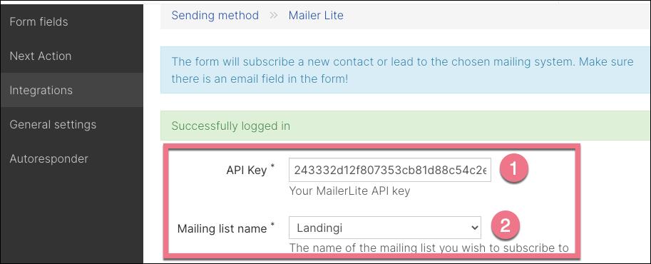 integrate mailterite with landingi