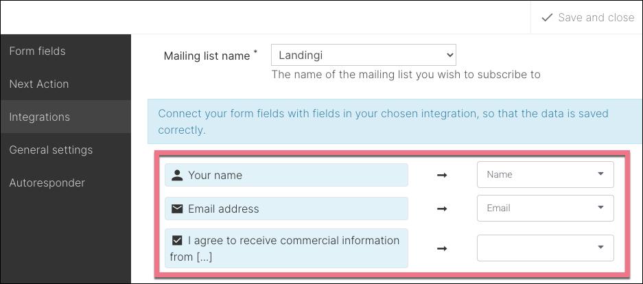 connect landingi with mailerlite