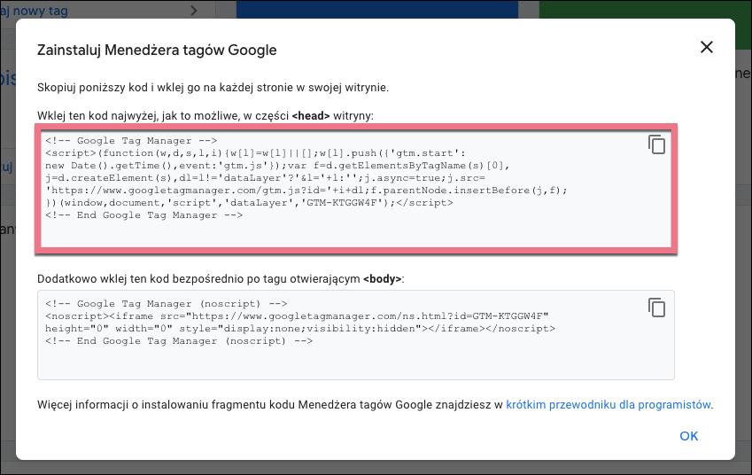 kody google tag managera