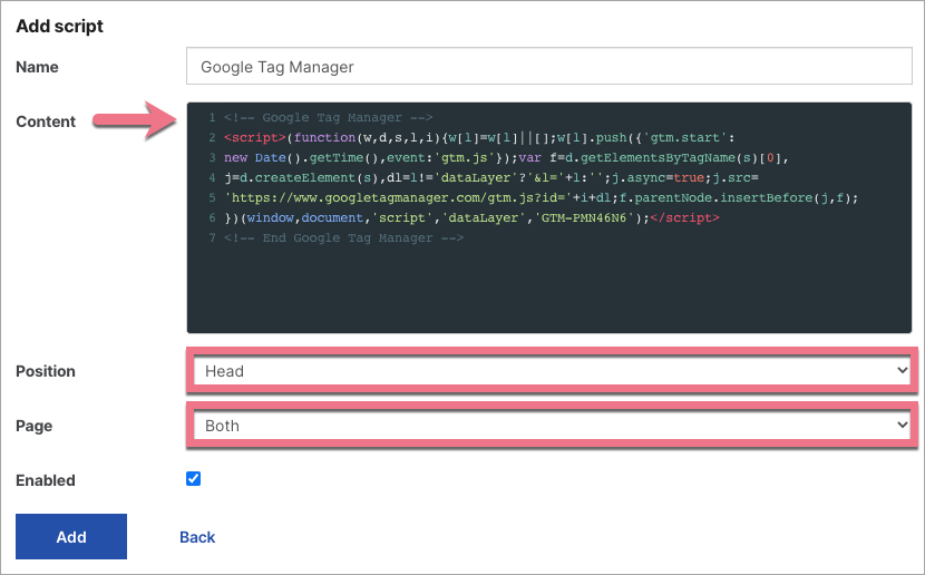 add google tag manager to landing page