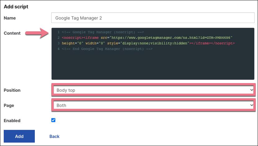 install google tag manager in landingi