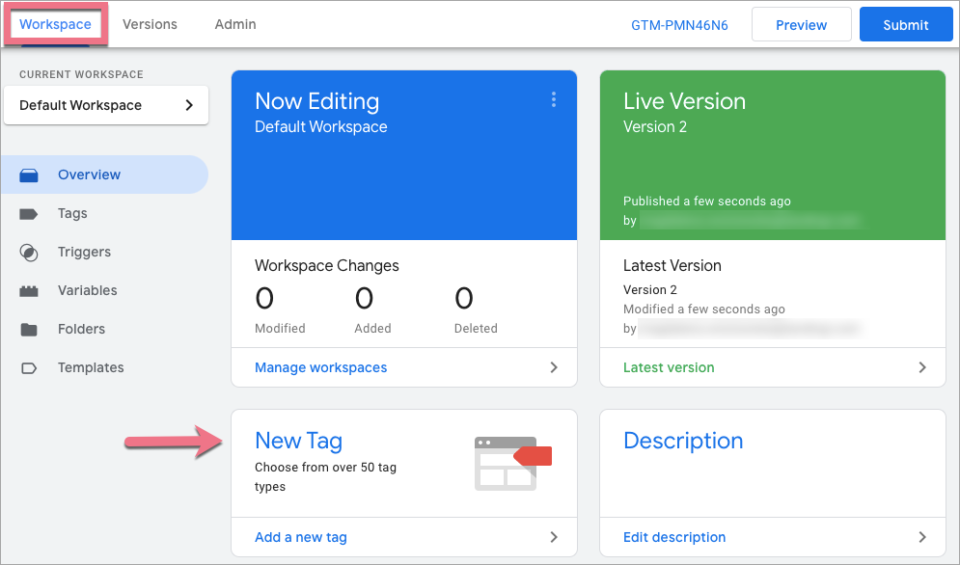add google tag manager landing page