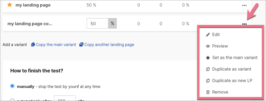 ab test landing page options