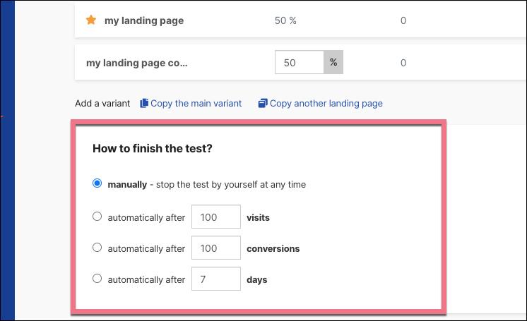 end landing page a/b test