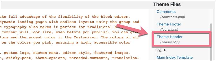 add code to wordpress header