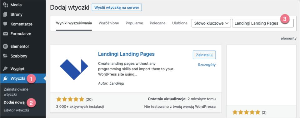 landingi publikacja wordpress