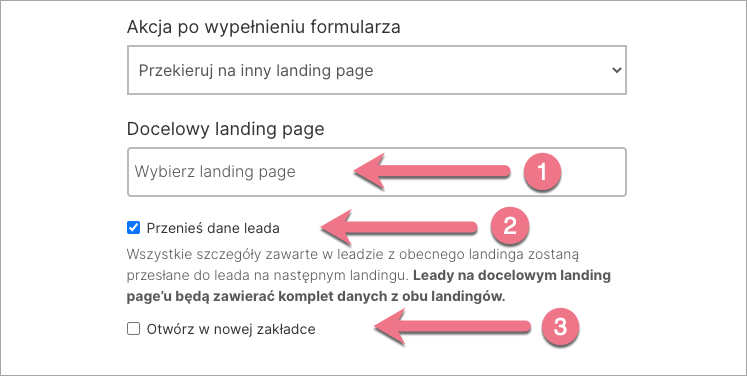 po formularzy inny landing page