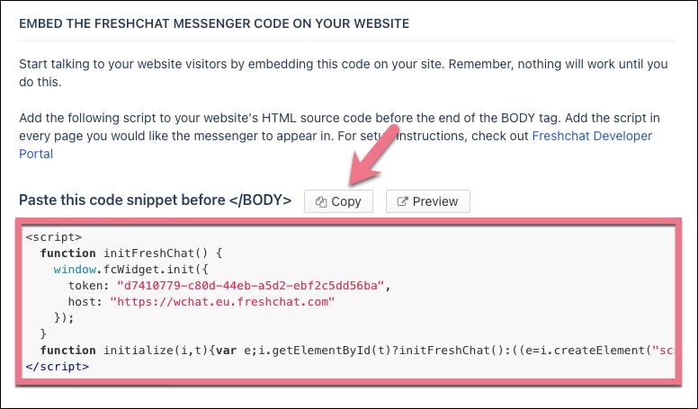 freshchat code integration