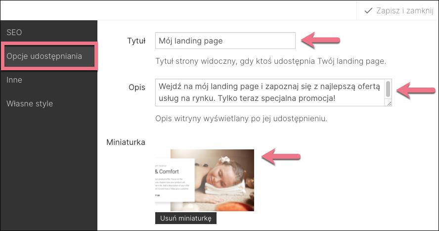 opcje udostępniania landing page