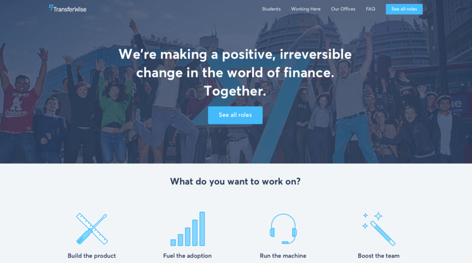 Transferwise jobs page