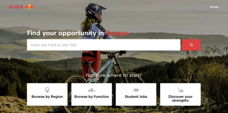 Red bull landing page
