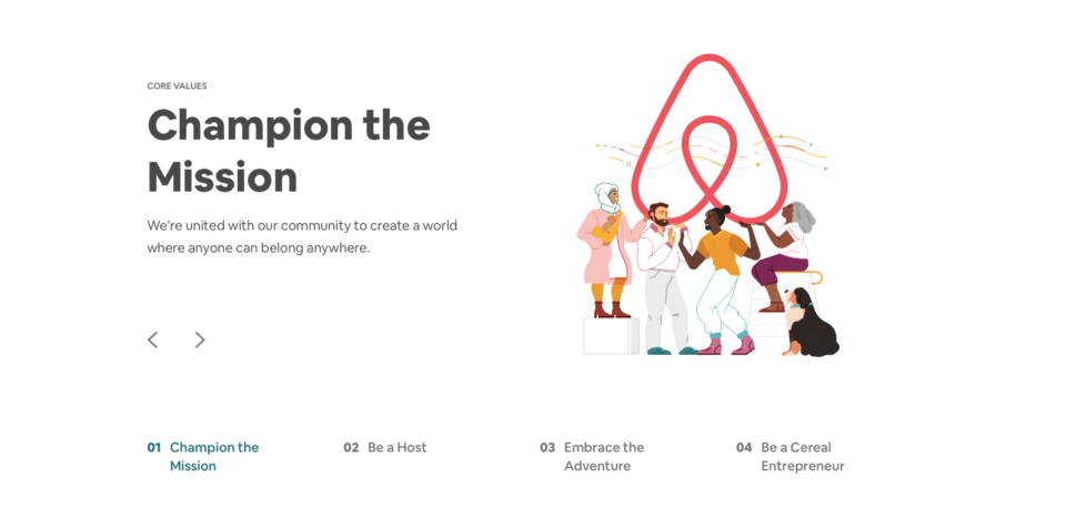 Airbnb recruitment landing page