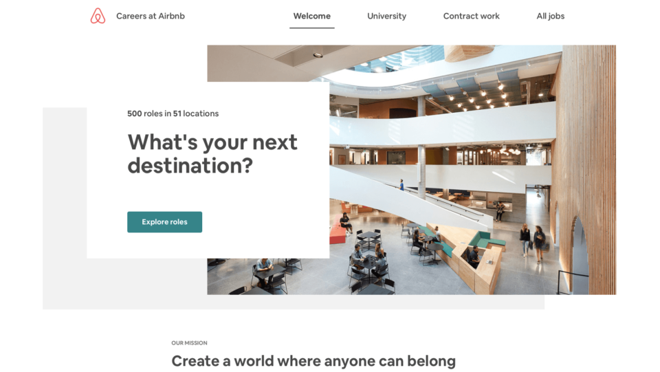 recruitment page example Airbnb