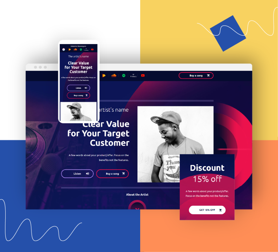 Music landing pages and much more