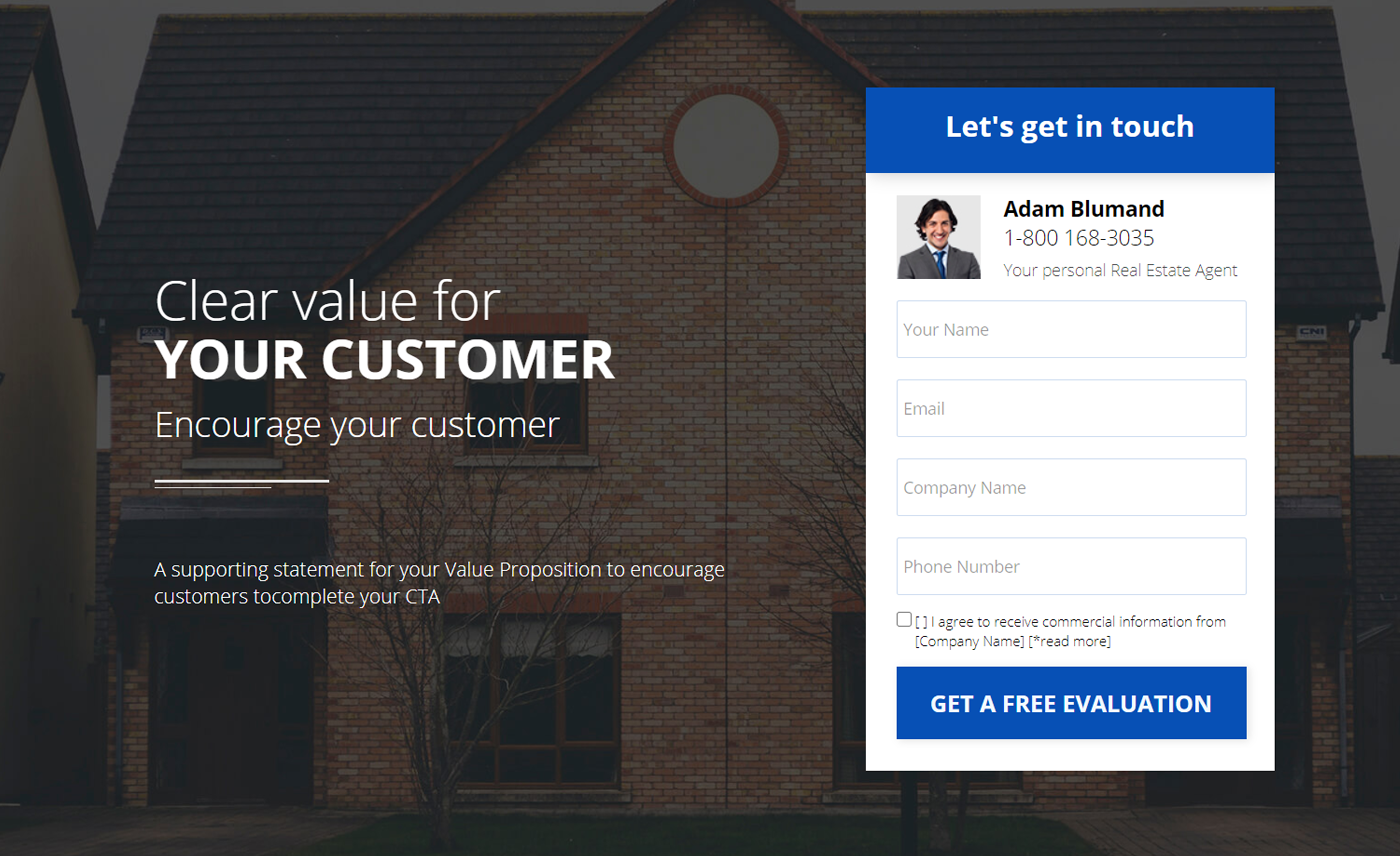An example of an insurance landing page