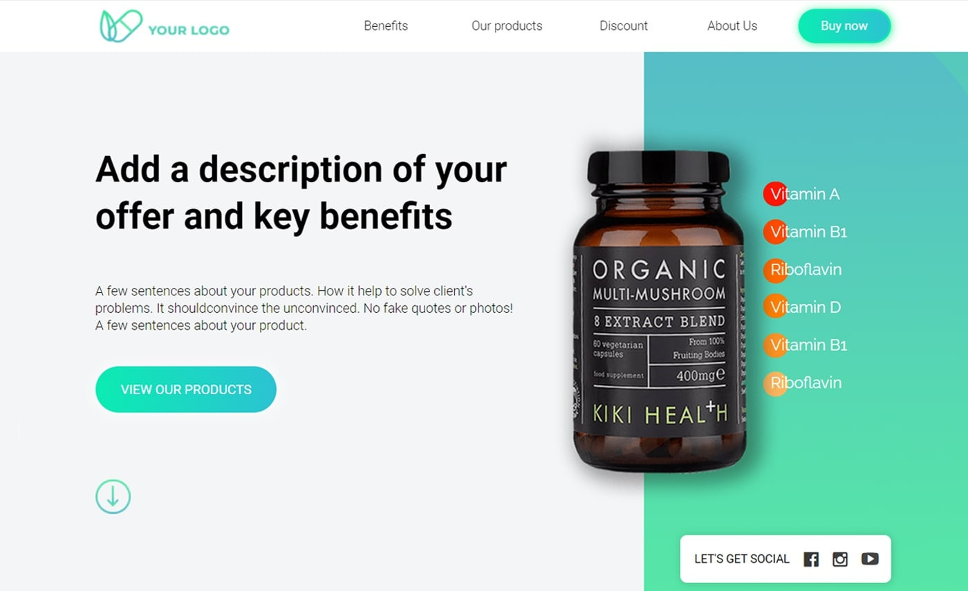 Supplement landing page
