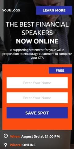 Financial webinar mobile page