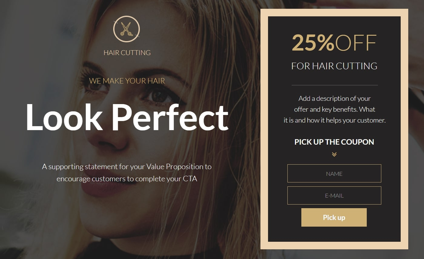 Beauty coupon landing page