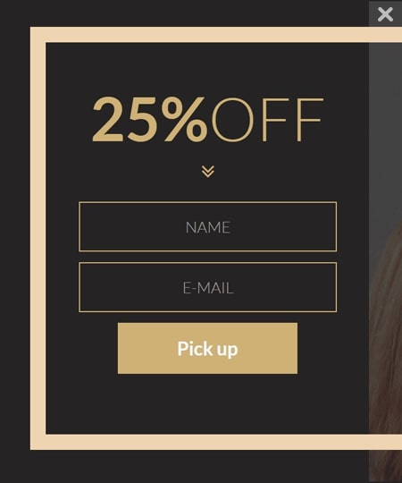 Beauty coupon popup