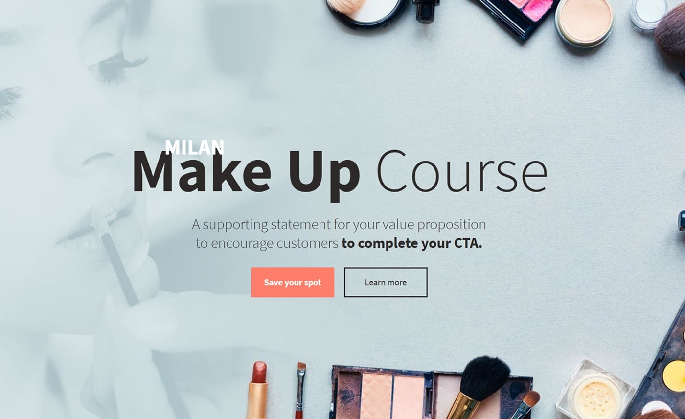 Beauty course landing page