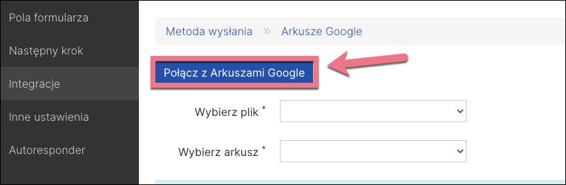 połącz z arkuszami google