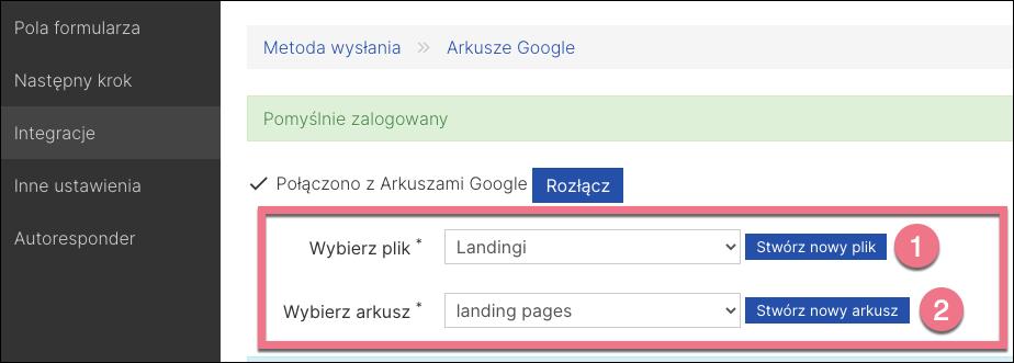 wybierz arkusz google