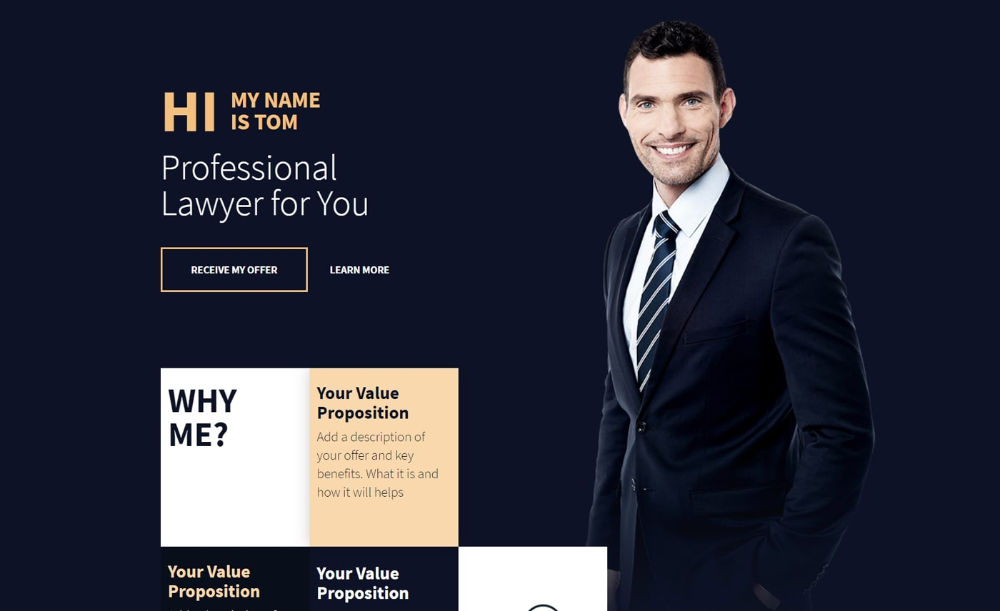 Advertising landing page example