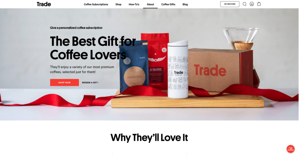 Trade Coffee Landing Page