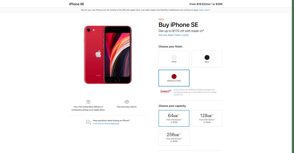 iPhone SE strona produktu