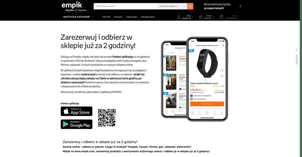 Empik App landing page