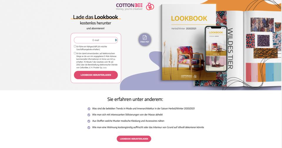 CottonBee landing page DE